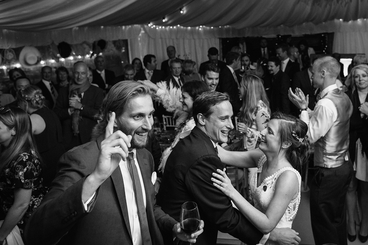 dancing in the marquee at an aldeburgh wedding