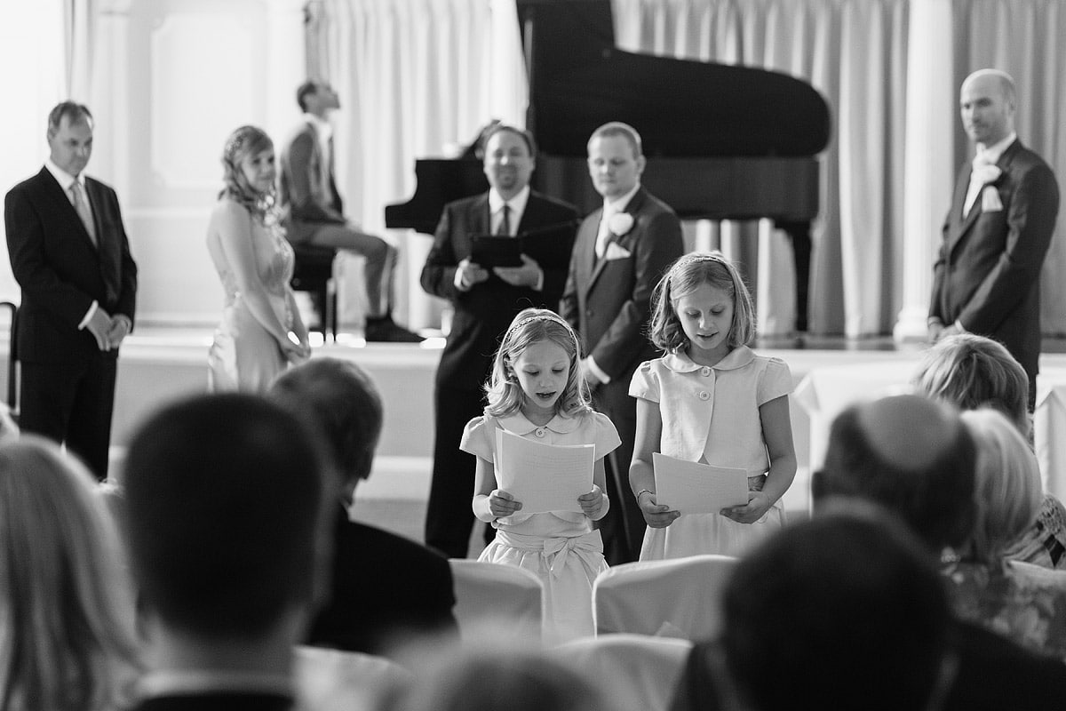 flowergirls speak during the service