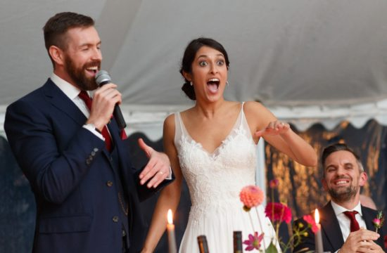 speeches during an autumn wedding at kimberley hall