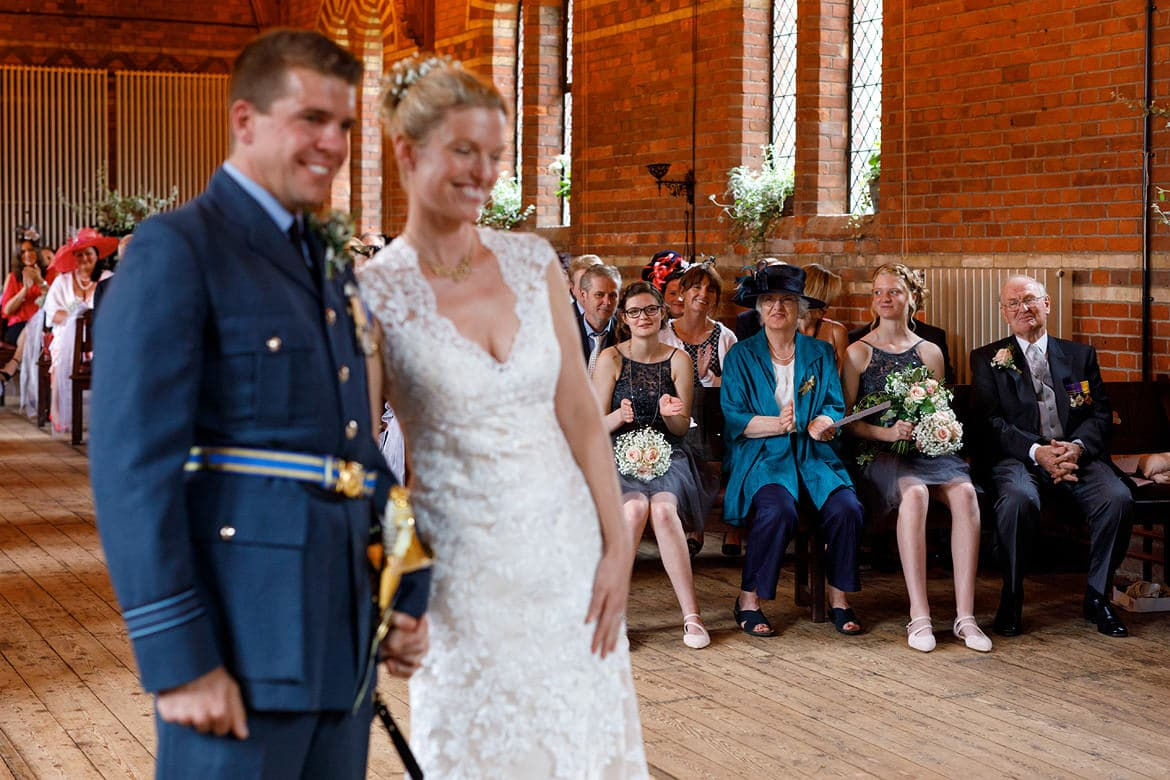 the brides family look on at a gressenhall museum wedding