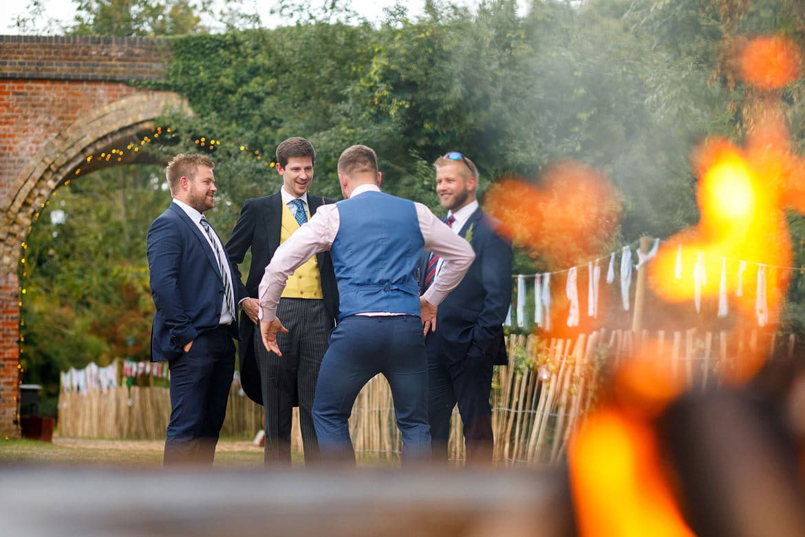 the groom and his guests at a framlingham wedding