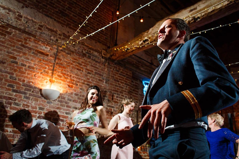 wedding guests dancing at godwick hall