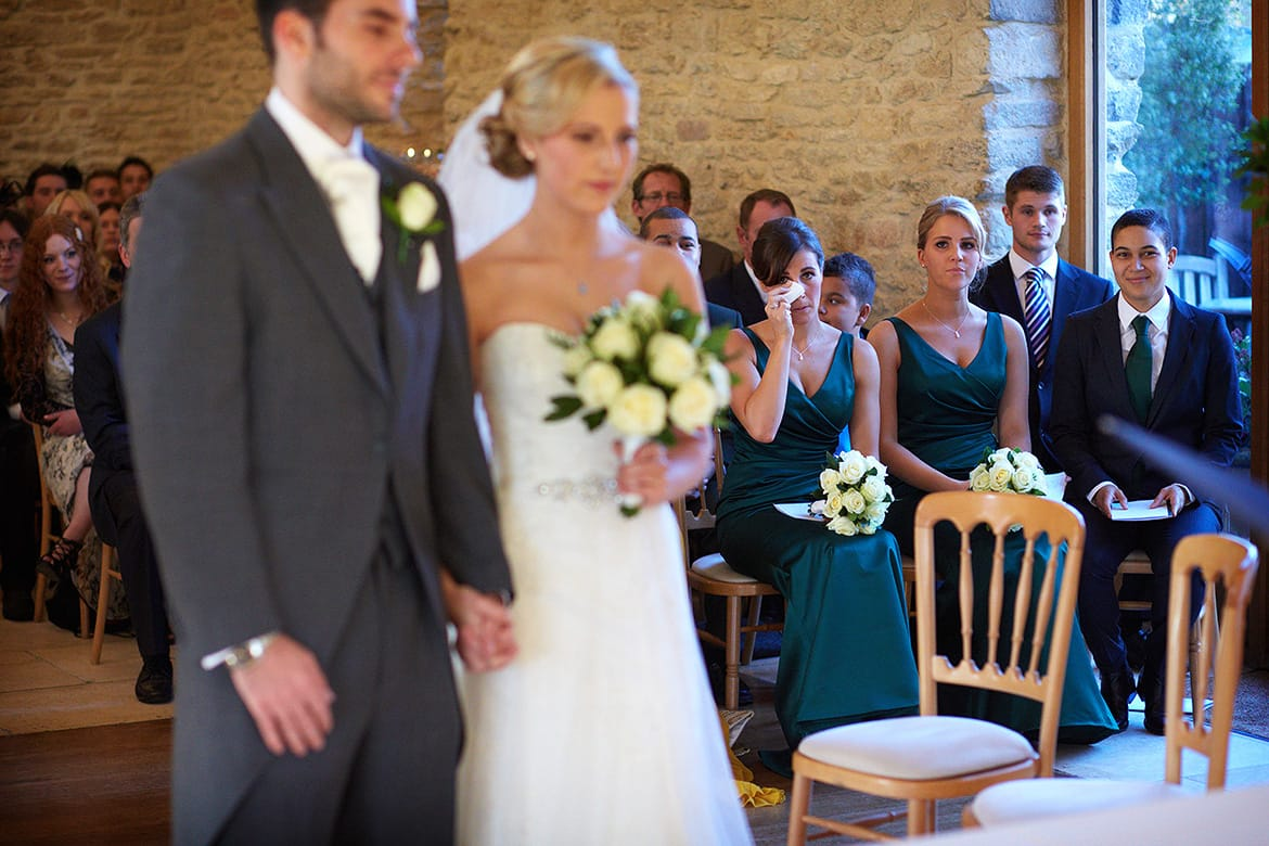 bridesmaid tears during a curradine barn wedding