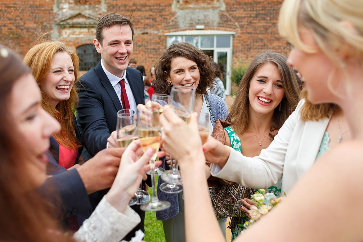 wedding guests toast the bride