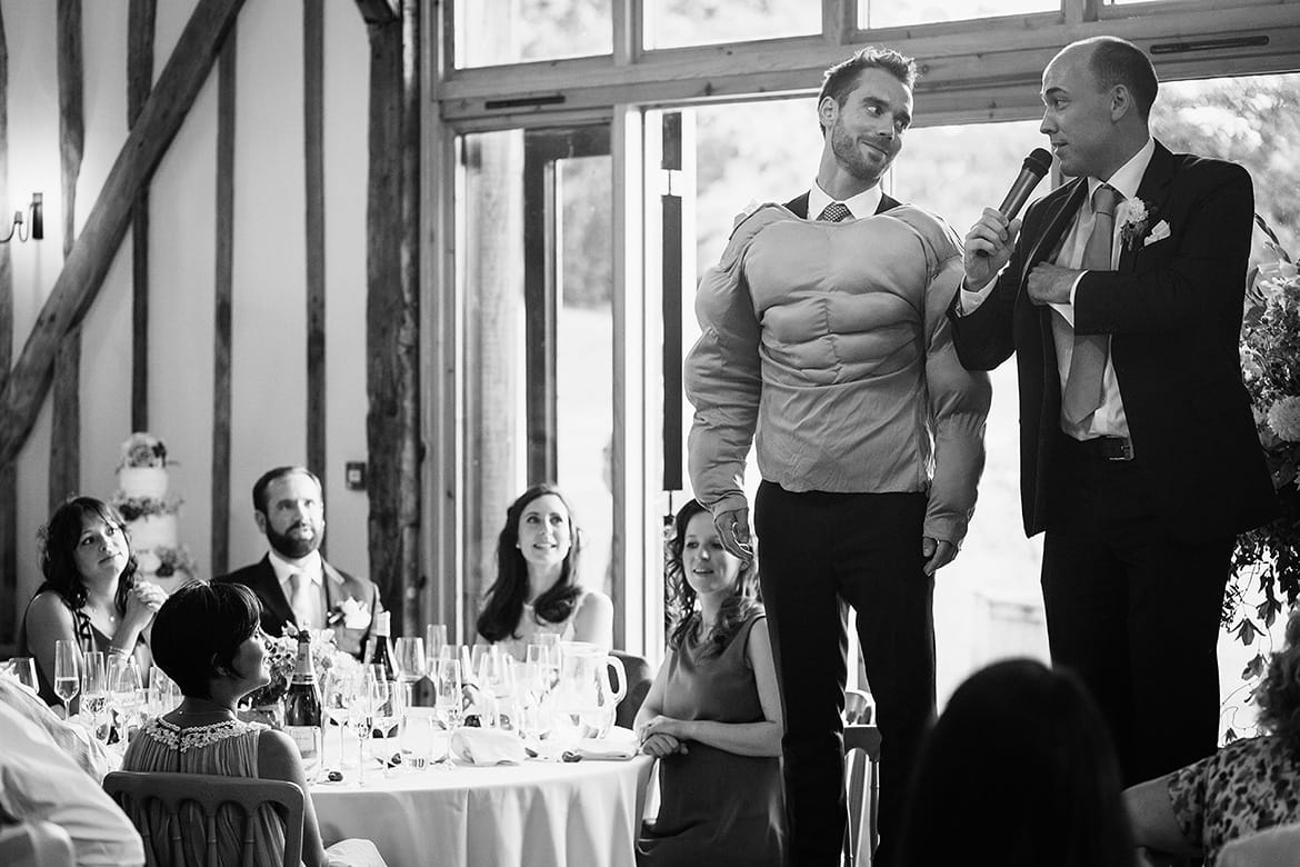 the groom dresses up during the best mans speech