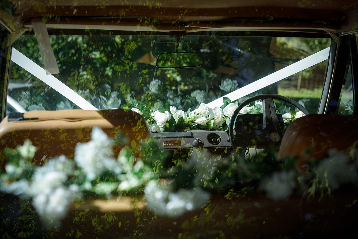flowers inside the bridal car
