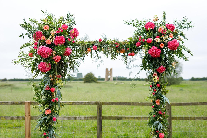 flower arch at a godwick hall wedding