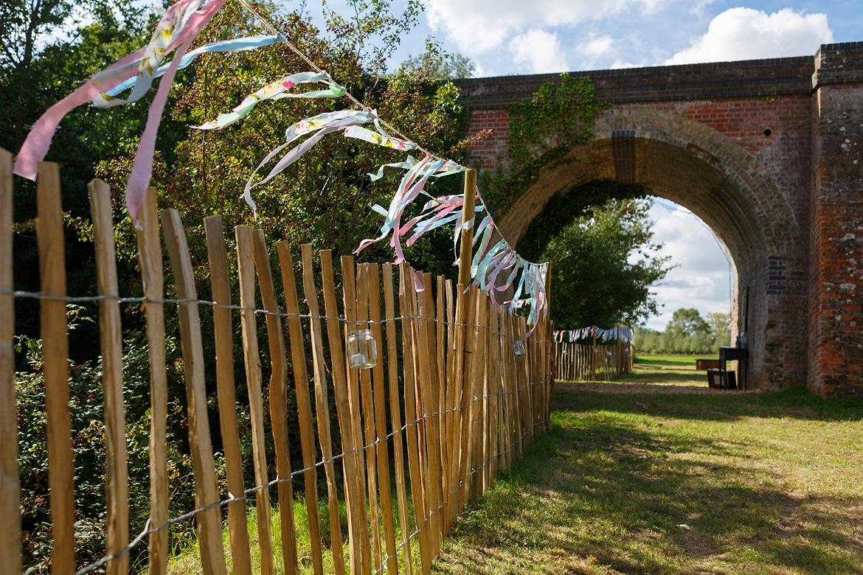 streamers decorating a suffolk wedding