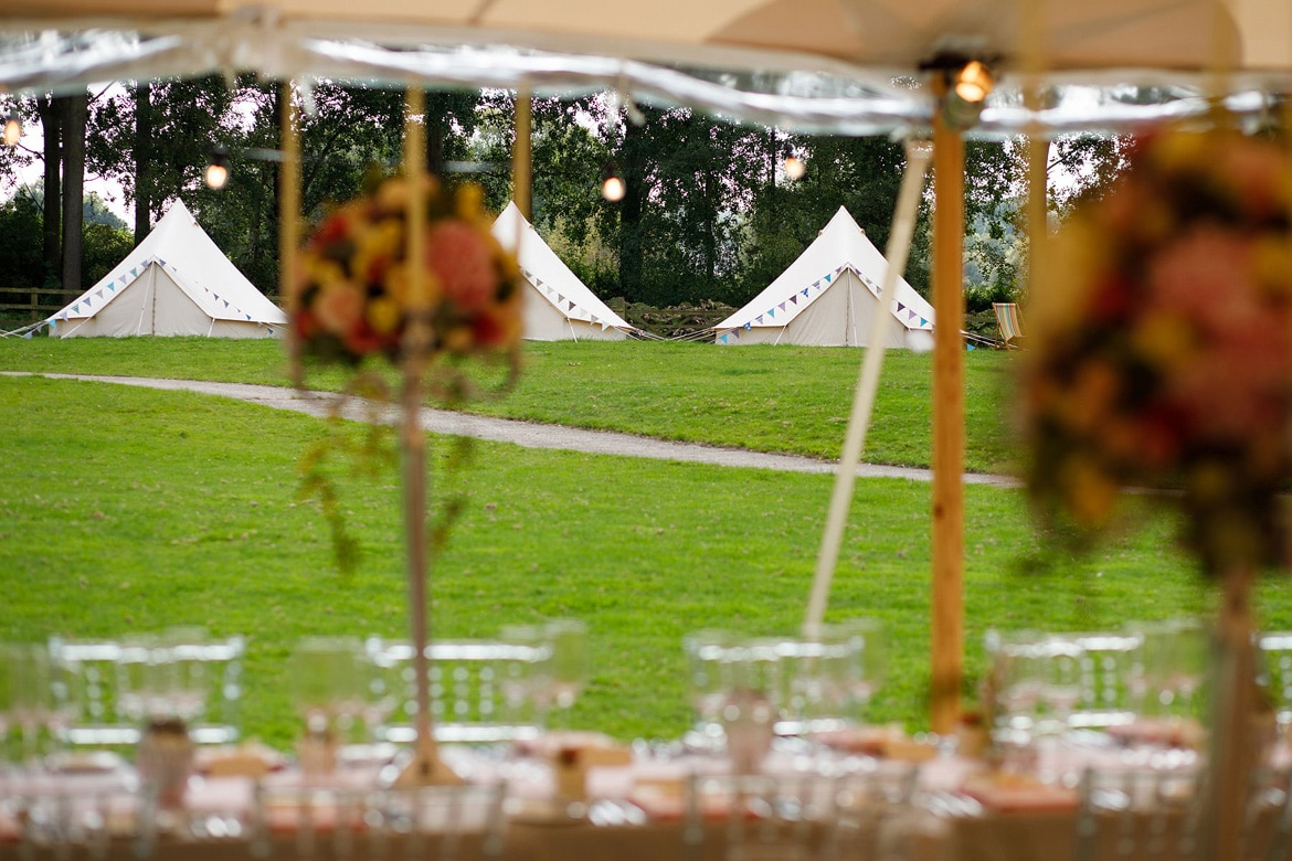 bell tents at an oxfordshire wedding