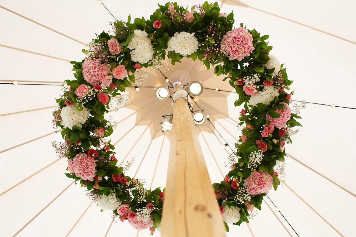 a ring of flowers decorating a wedding marquee