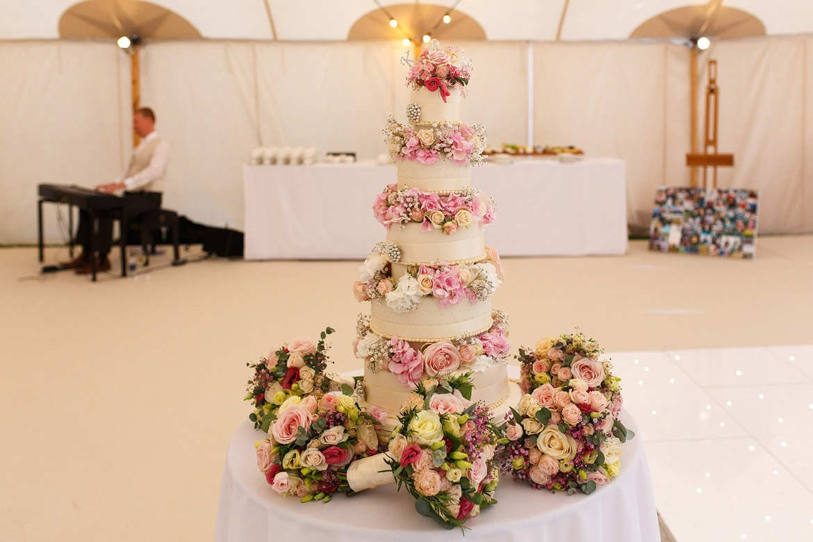 a many tiered wedding cake