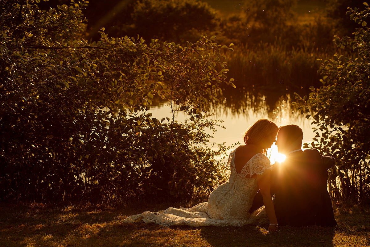 a sunset wedding portrait at bluebell vineyard