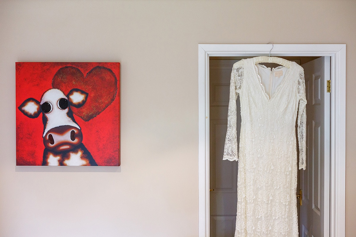 Wedding dress hanging in a door frame with a cow photo next to it