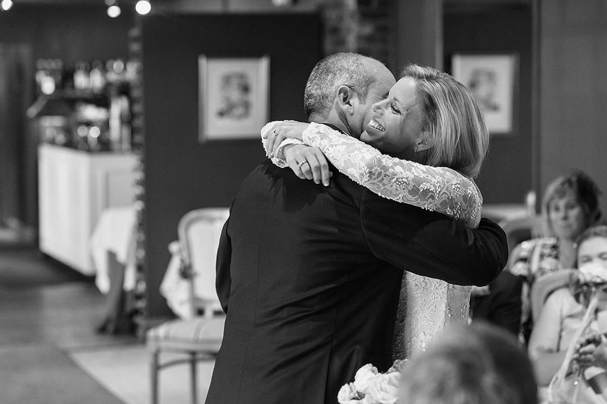a hug as the ceremony finishes