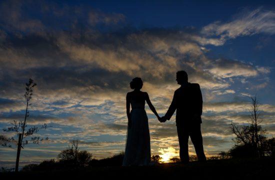 sunset couple shot at a bruisyard hall wedding