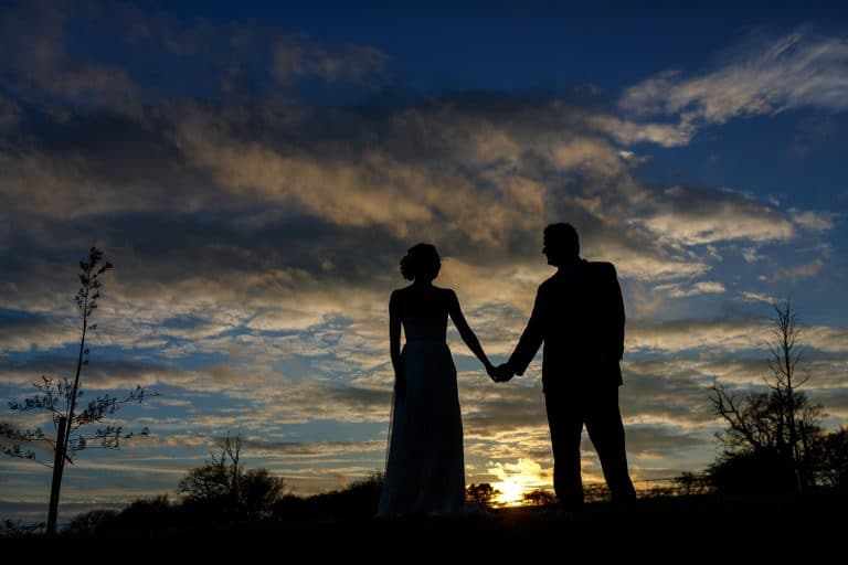 sunset couple shot at a bruisyard hall wedding