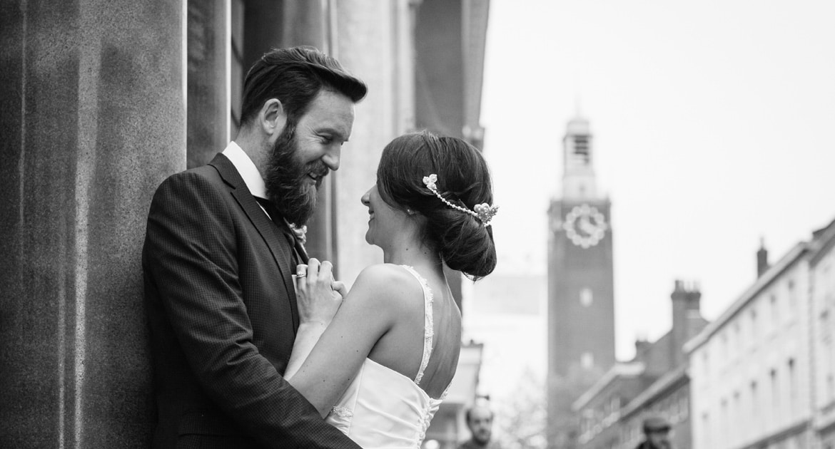 norwich city centre wedding portrait