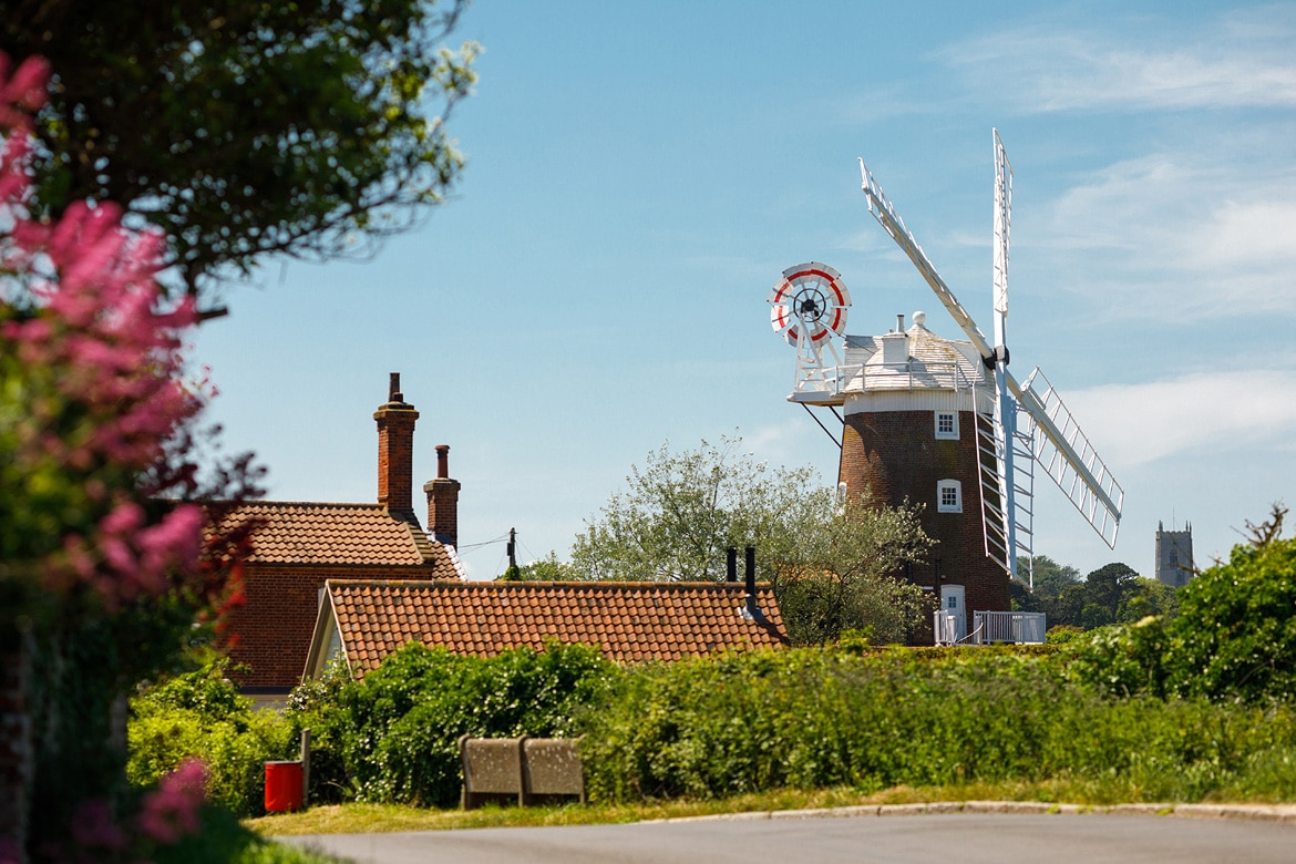 cley mill seen from the coast road