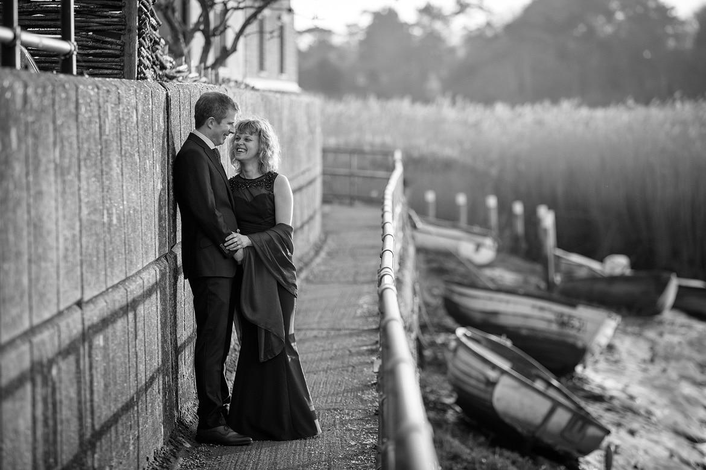 bride and groom on the norfolk coastal path