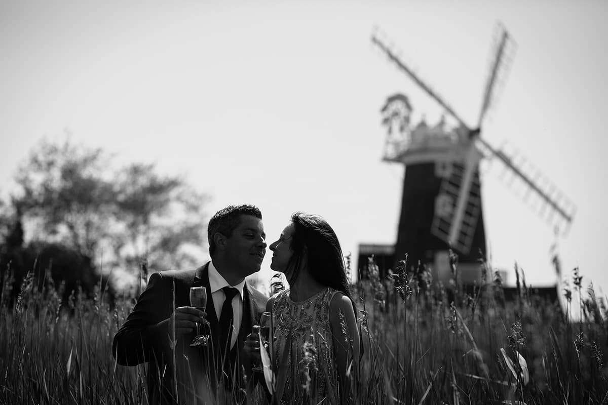 cley windmill wedding portrait