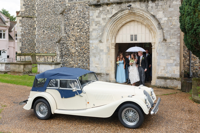 the wedding car outside framlingham church