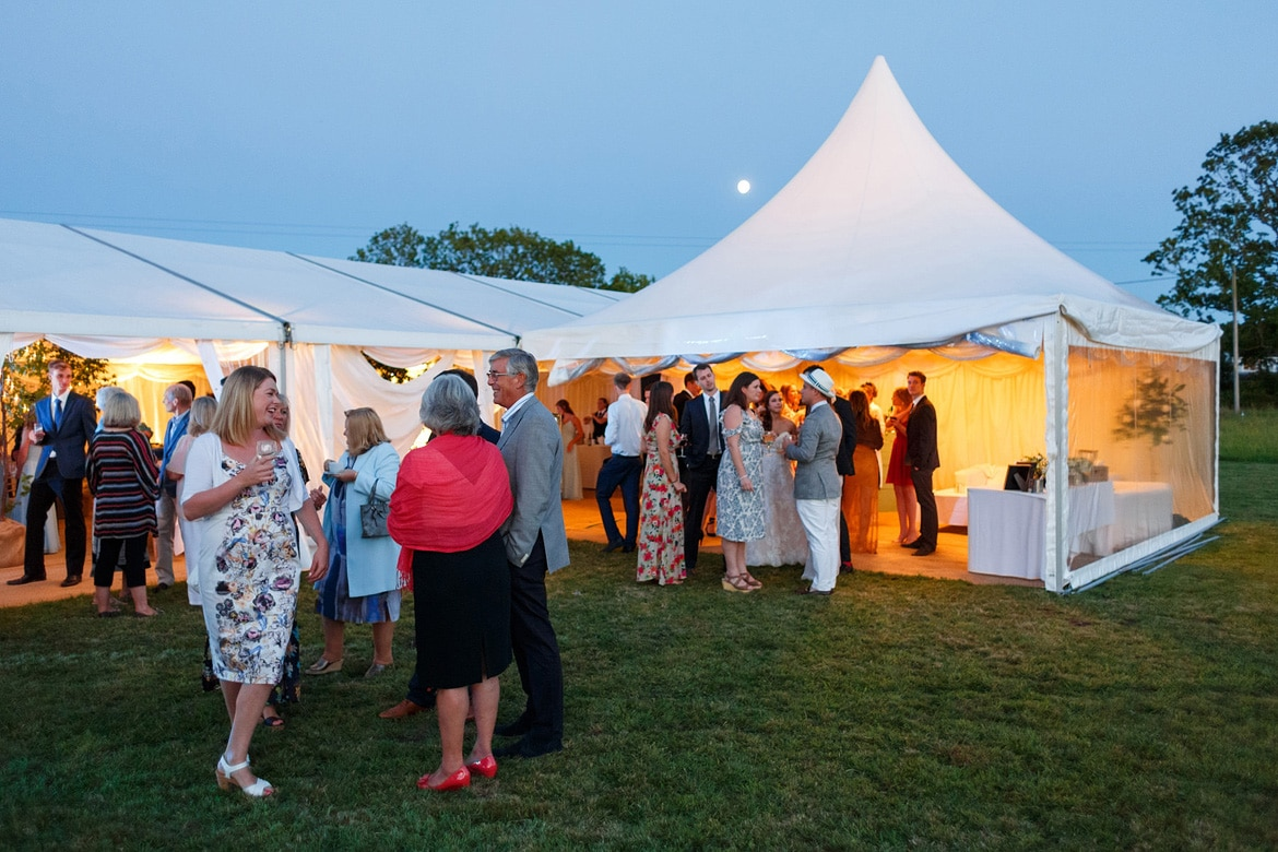 a beautiful summers evening outside the wedding marquee