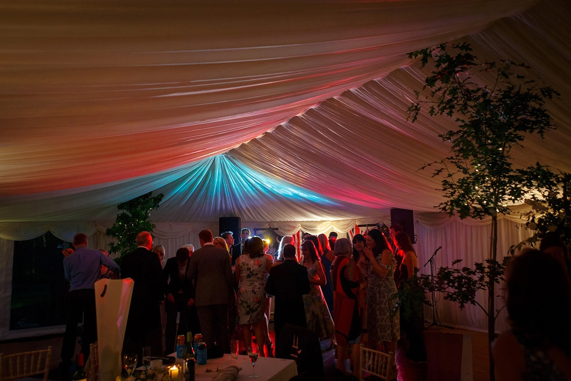 inside the marquee in the evening
