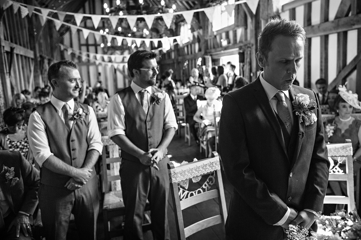 a very nervous groom just before the wedding