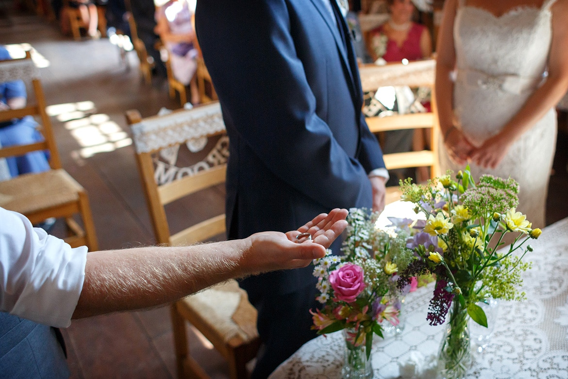 the best man presents a ring