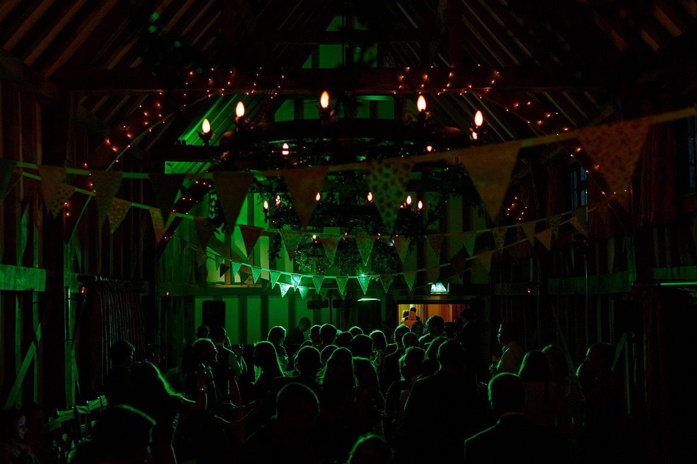 the dance floor lit up in green