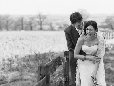 anna and steve laughing at their gaynes park wedding