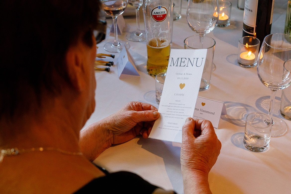 examining the wedding breakfast menu