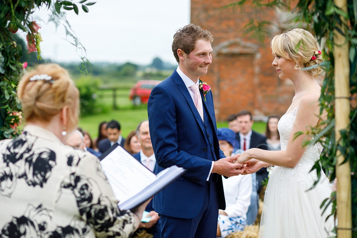 a nervous moment during a godwick barn wedding