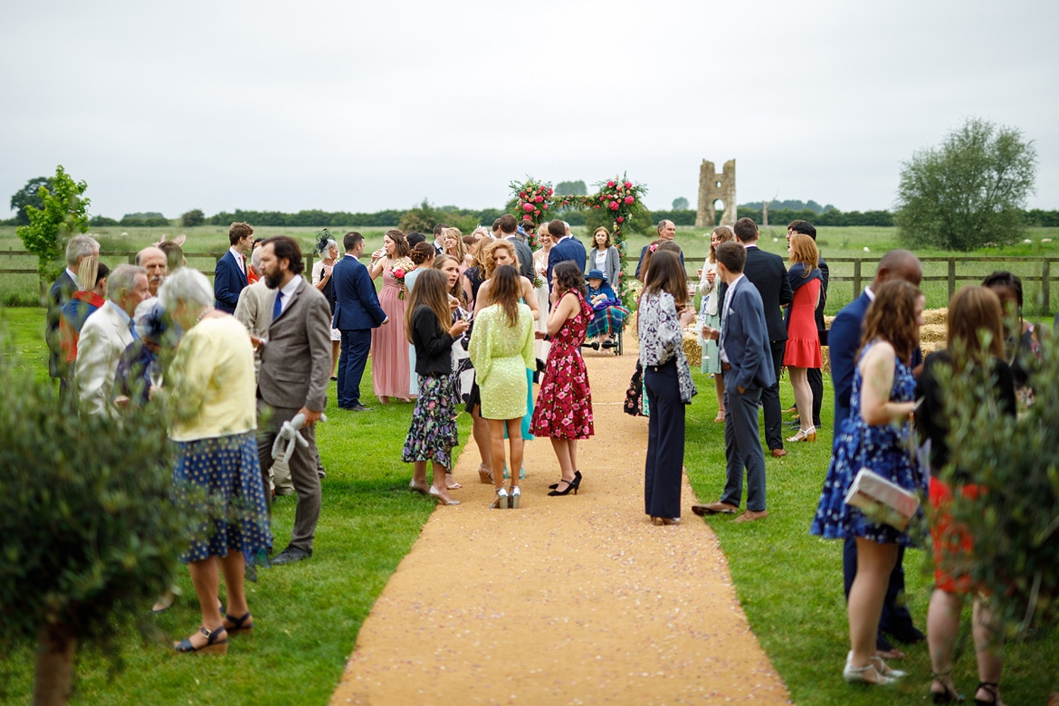 guests outside at a godwick wedding