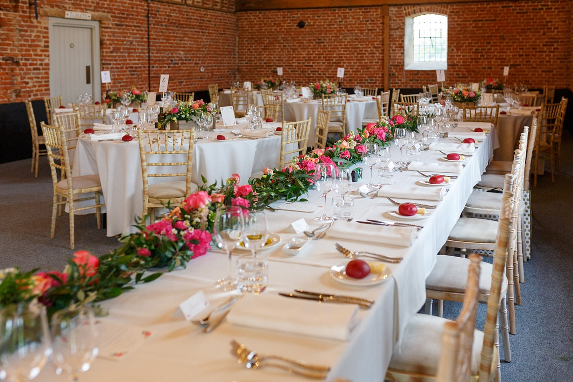 godwick barn ready for the wedding breakfast