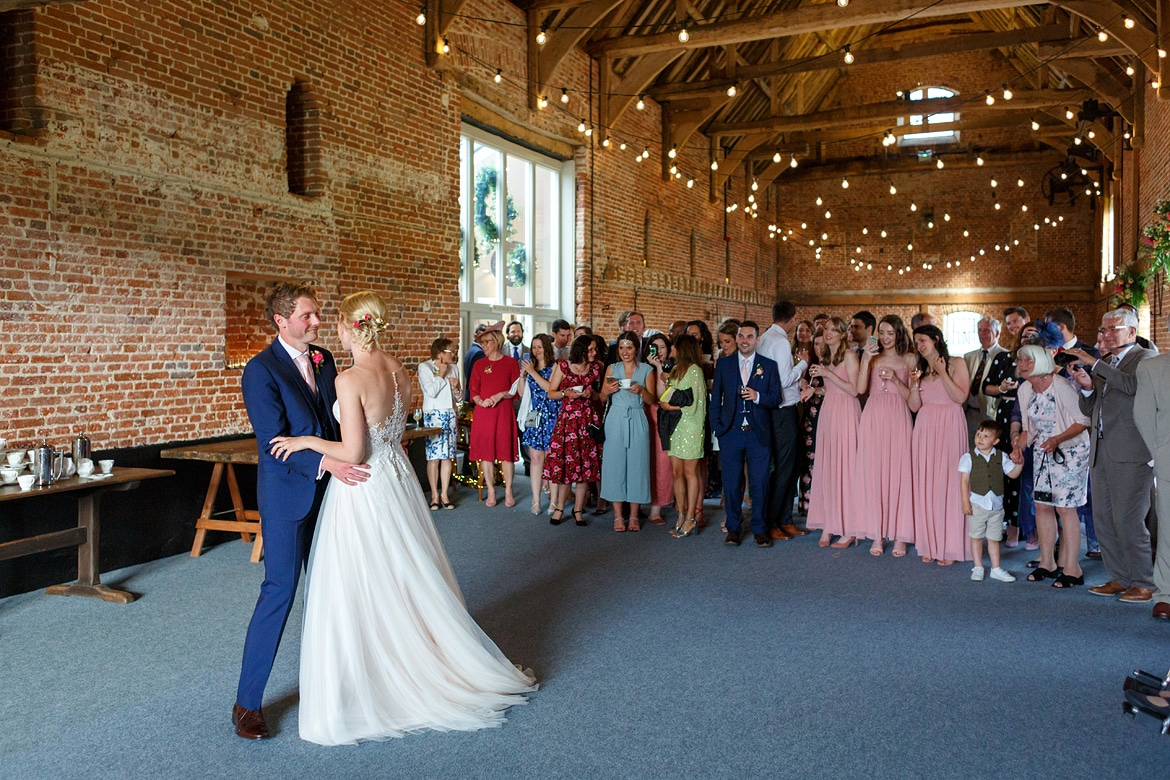 the first dance at a godwick barn wedding