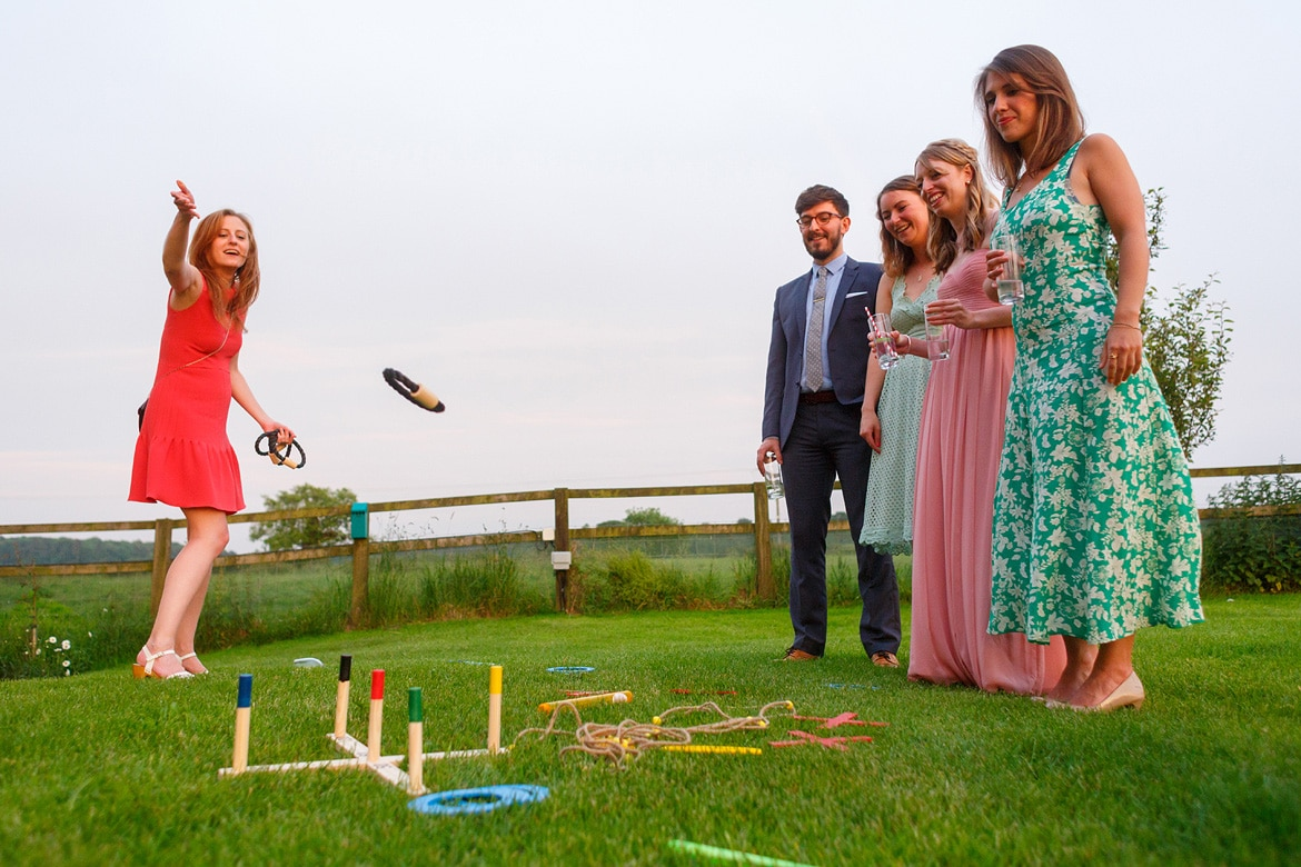 wedding guests play hoopla