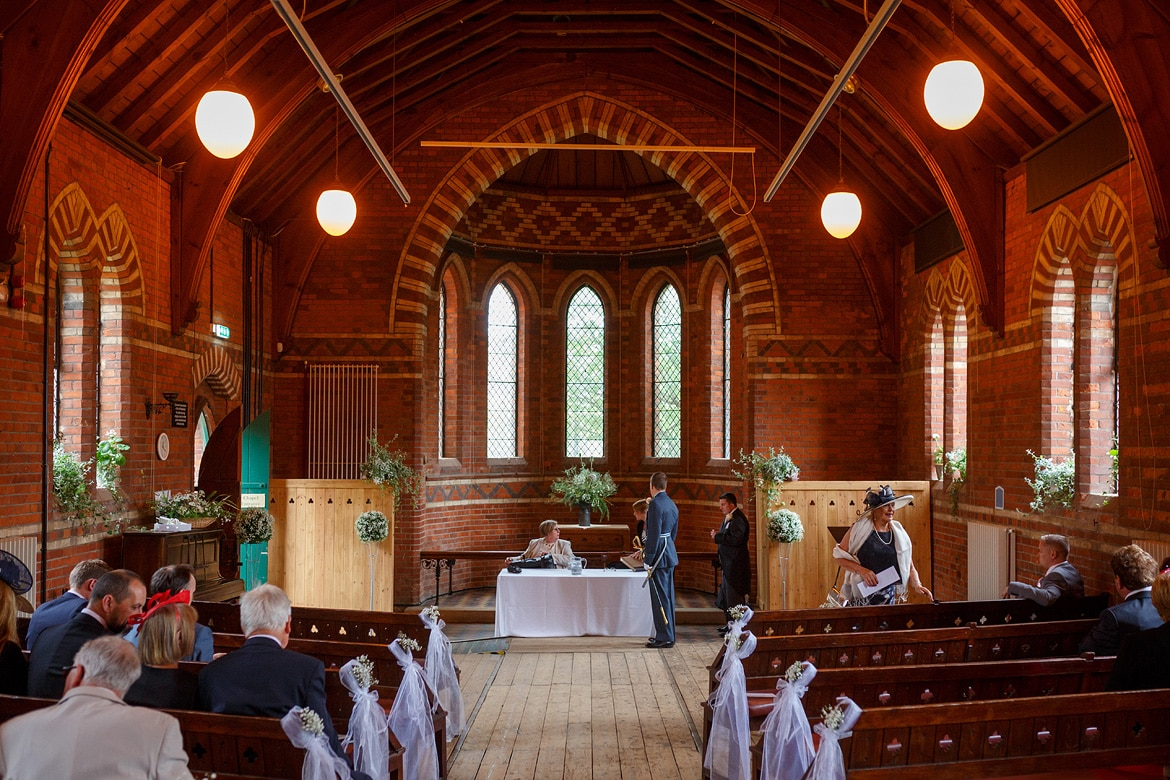 a wide shot of the chapel before the ceremony
