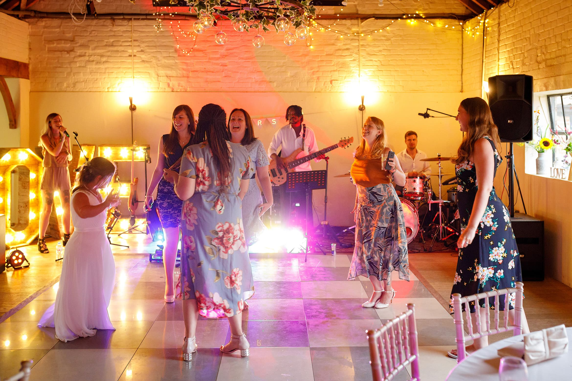 the bride dances with her guests at hautbois hall