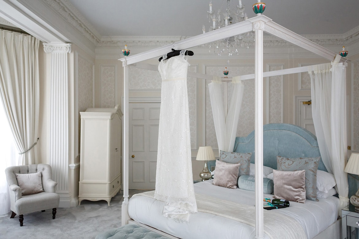 wedding dress hanging in the hedsor house bridal suite