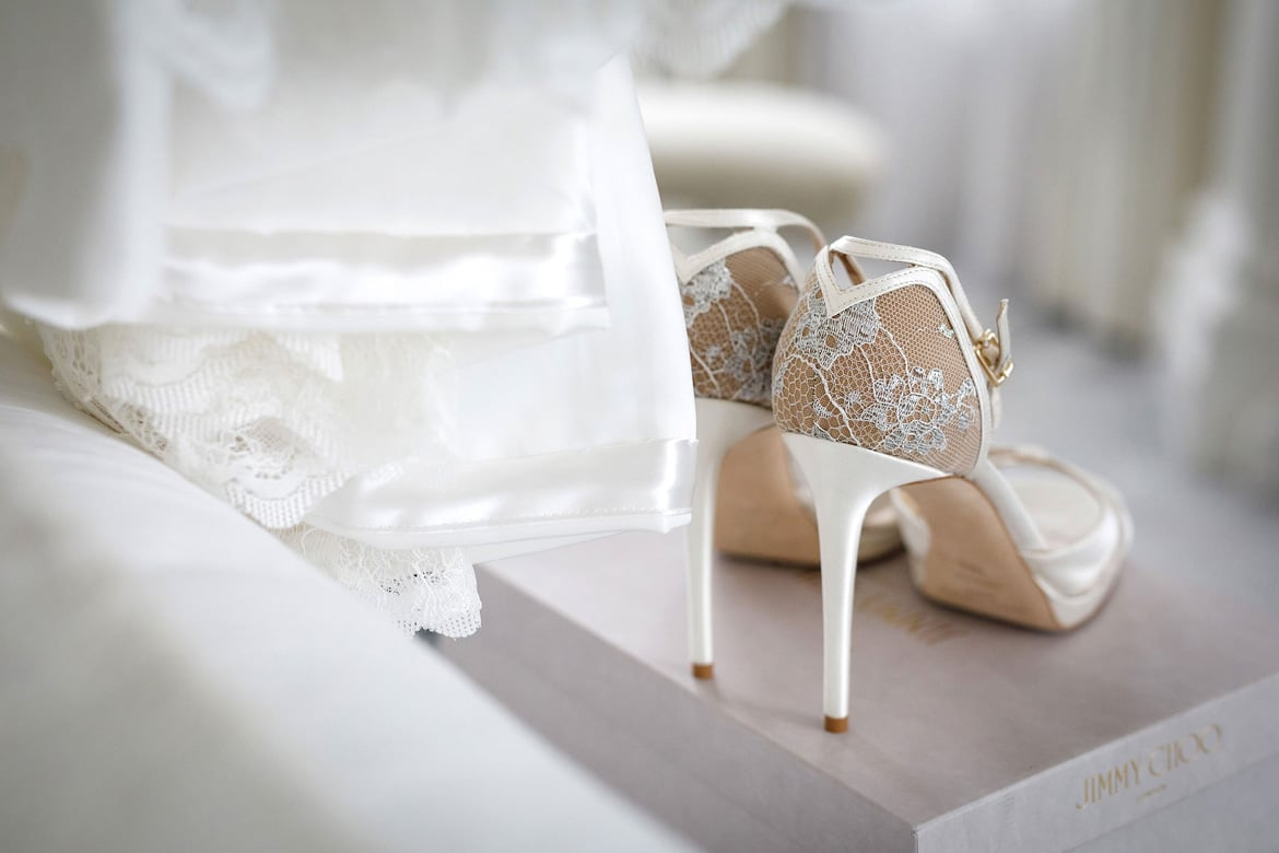 jimmy choo wedding shoes in the bridal suite