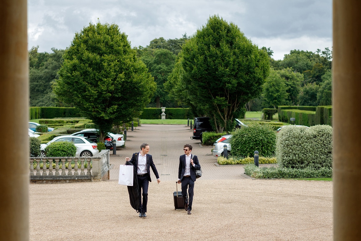 the groom and his brother arrive at hedsor house