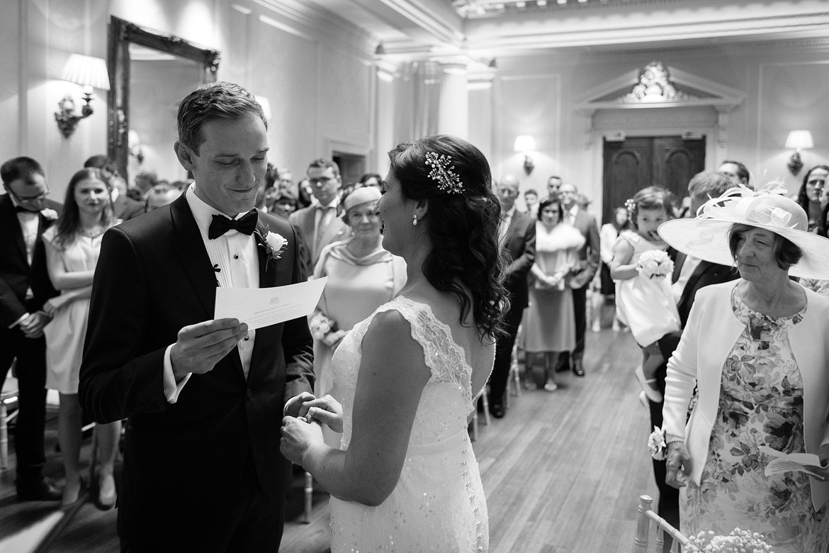 wedding vows in the centre hall at hedsor house