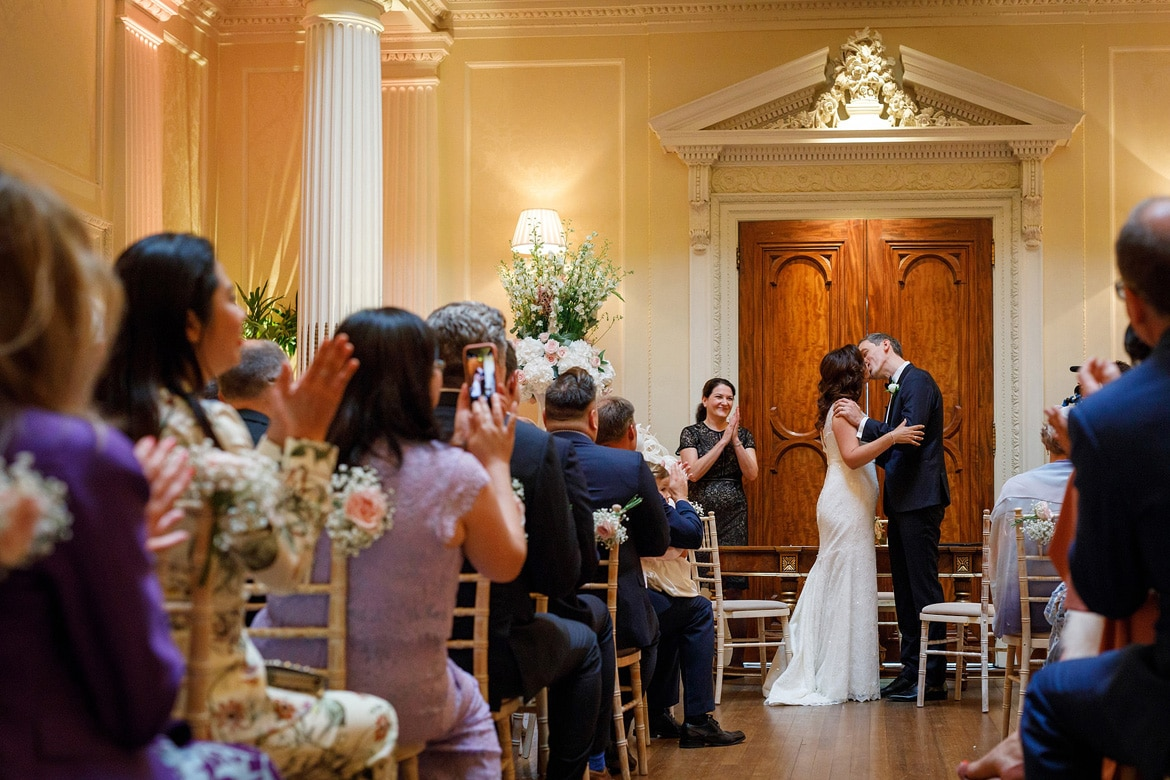 the first kiss at a hedsor house wedding