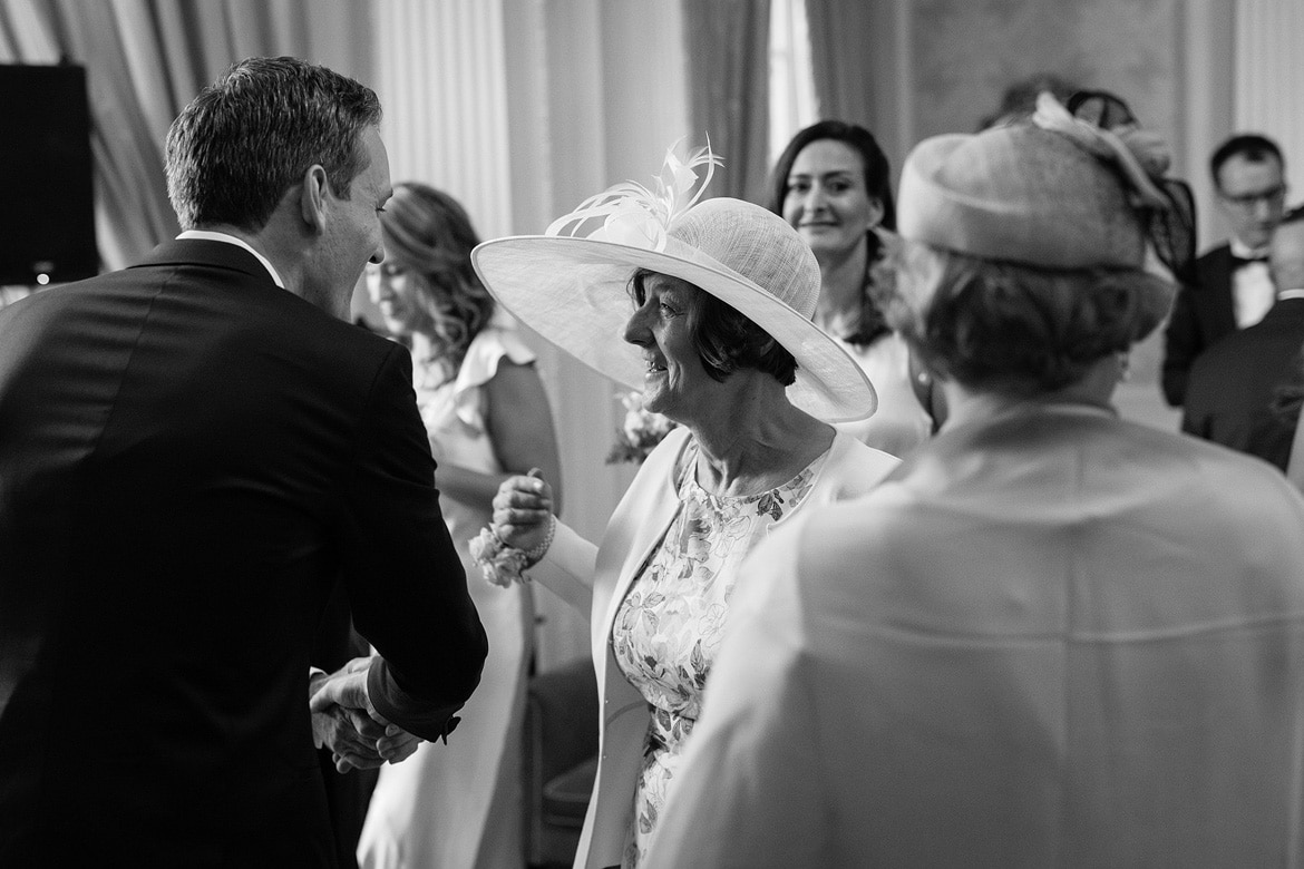 the brides mother congratulates the groom