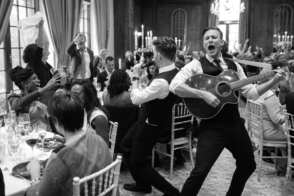 singing waiters during the wedding breakfast