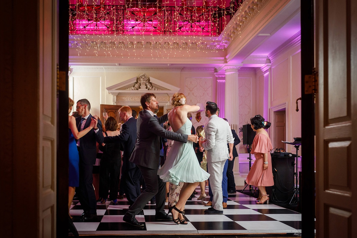 looking into the dancing at a hedsor wedding