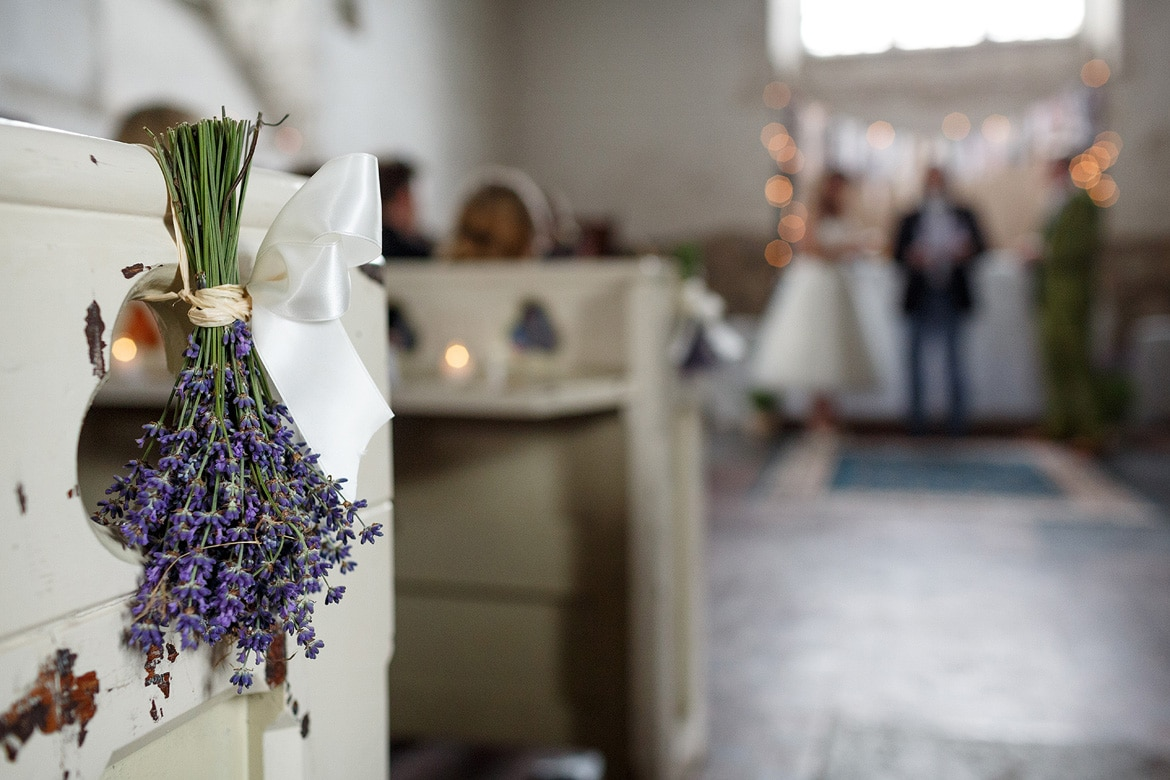 lavender on the pew ends