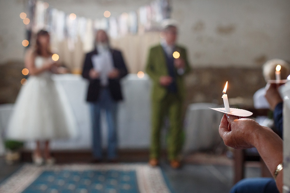 a candle during the wedding ceremony