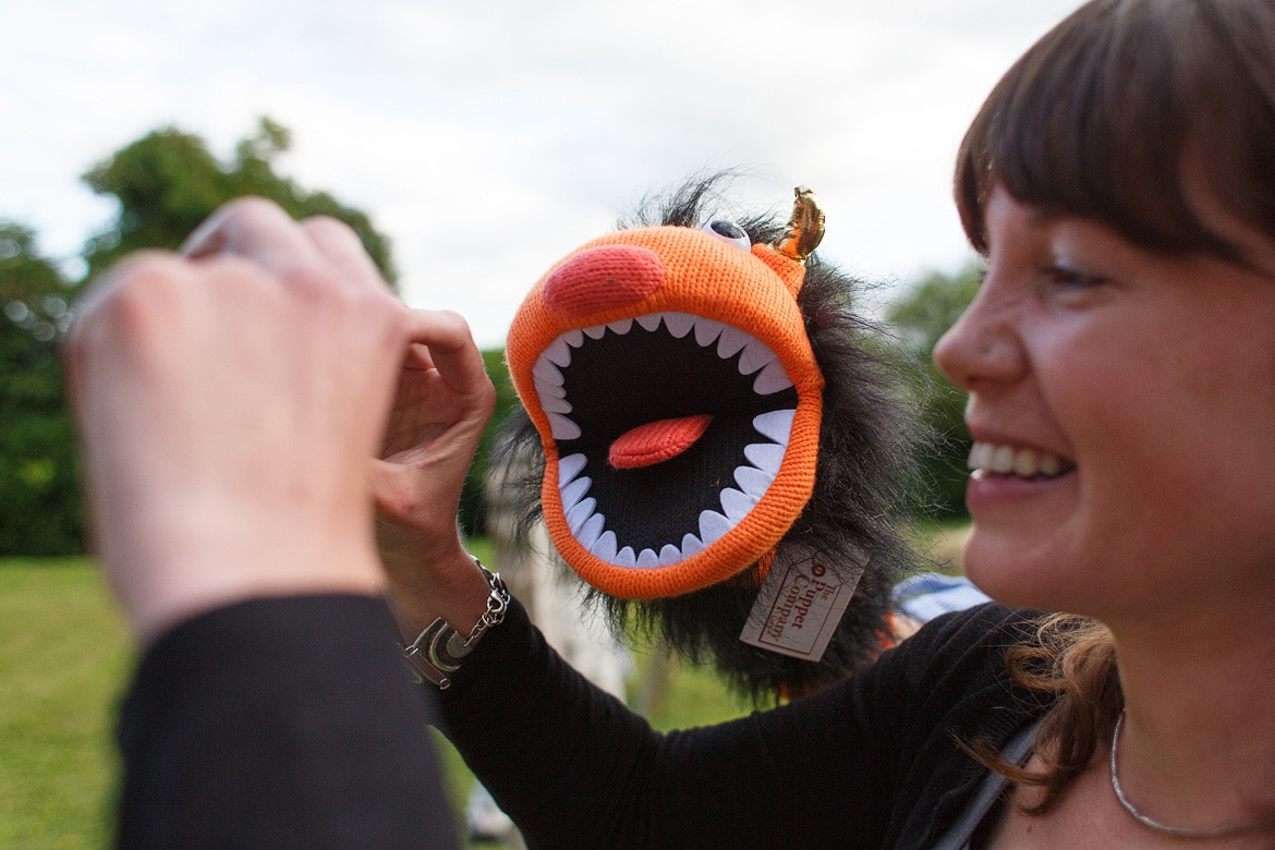 a weeging guest and hand puppet